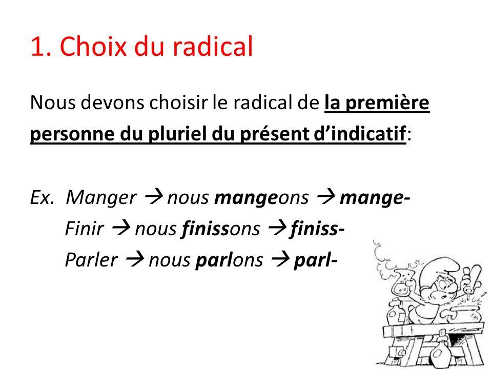 1. Choix du radical