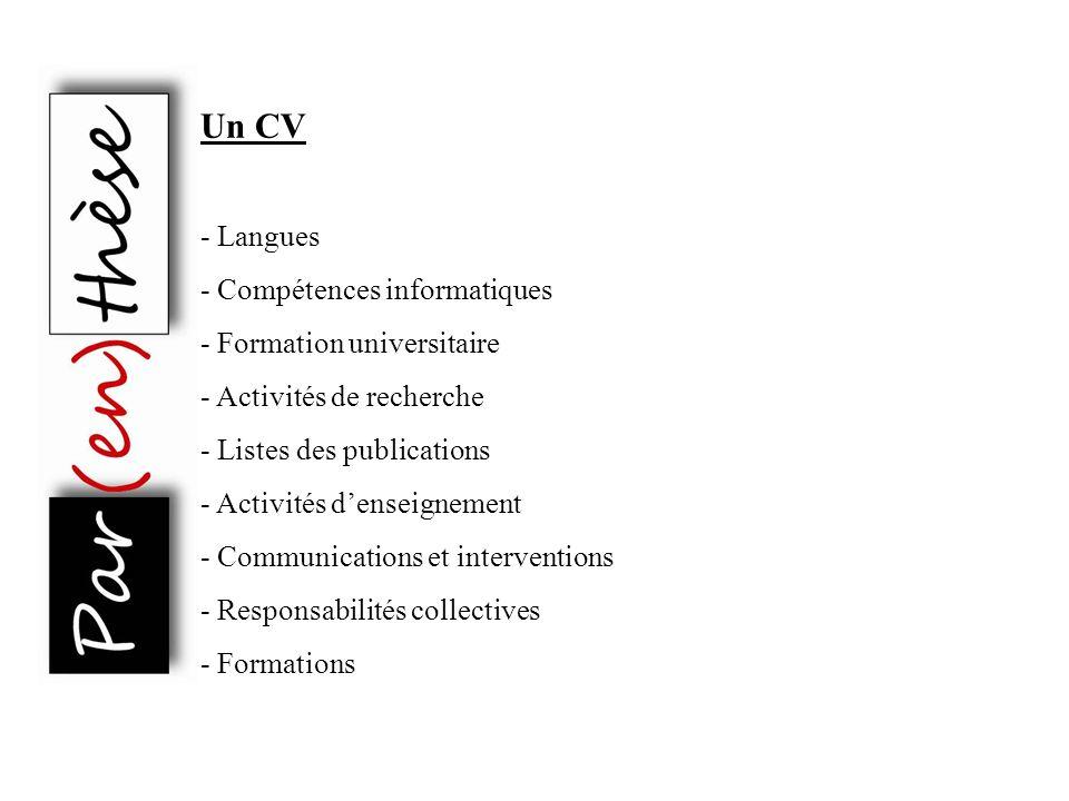 Un CV - Langues - Compétences informatiques - Formation universitaire