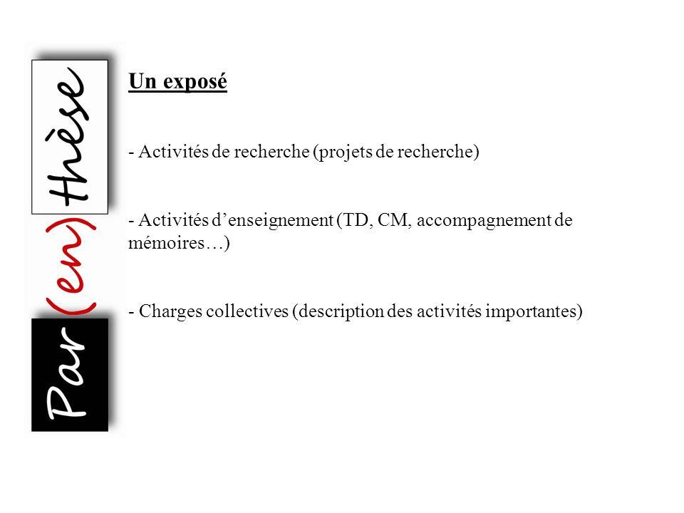 Un exposé - Activités de recherche (projets de recherche)