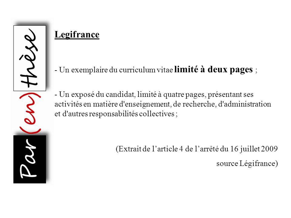 Legifrance - Un exemplaire du curriculum vitae limité à deux pages ;