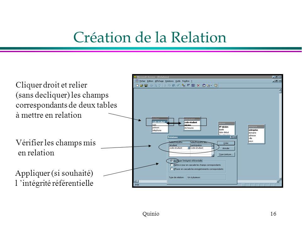 Création de la Relation
