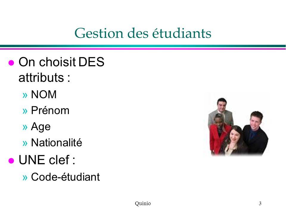 Gestion des étudiants On choisit DES attributs : UNE clef : NOM Prénom