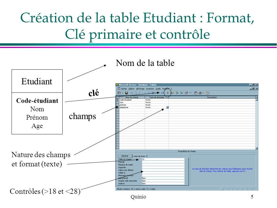 Création de la table Etudiant : Format, Clé primaire et contrôle
