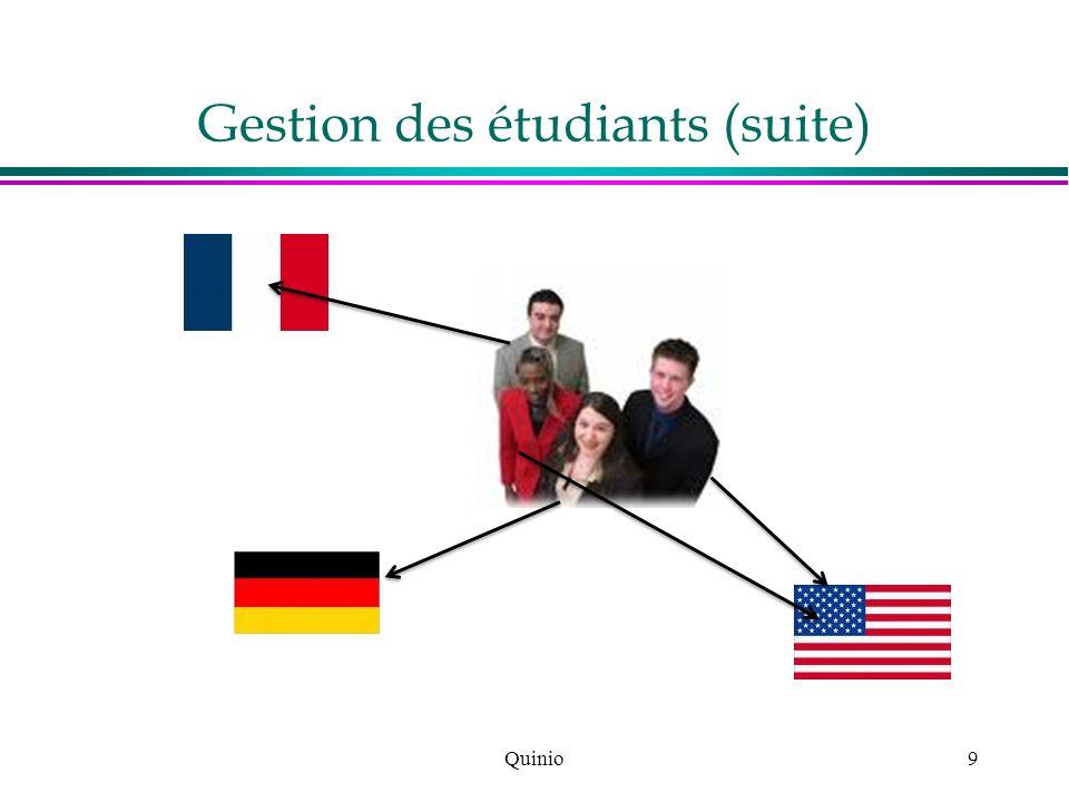 Gestion des étudiants (suite)