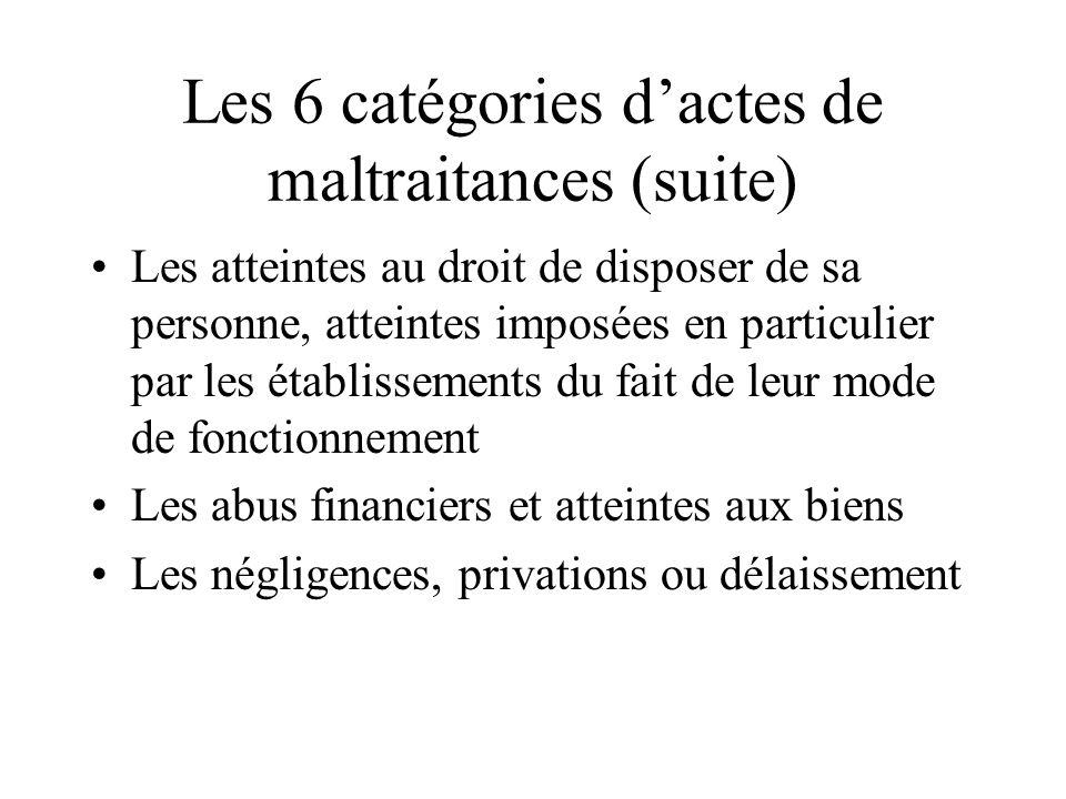 Les 6 catégories d'actes de maltraitances (suite)