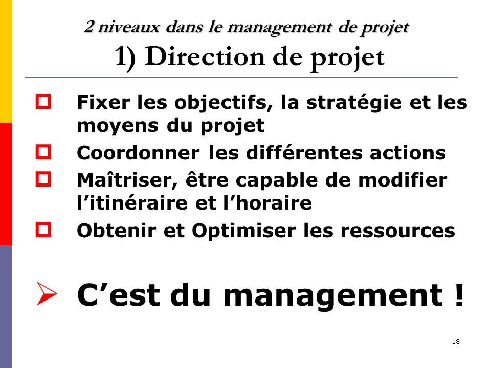 2 niveaux dans le management de projet 1) Direction de projet