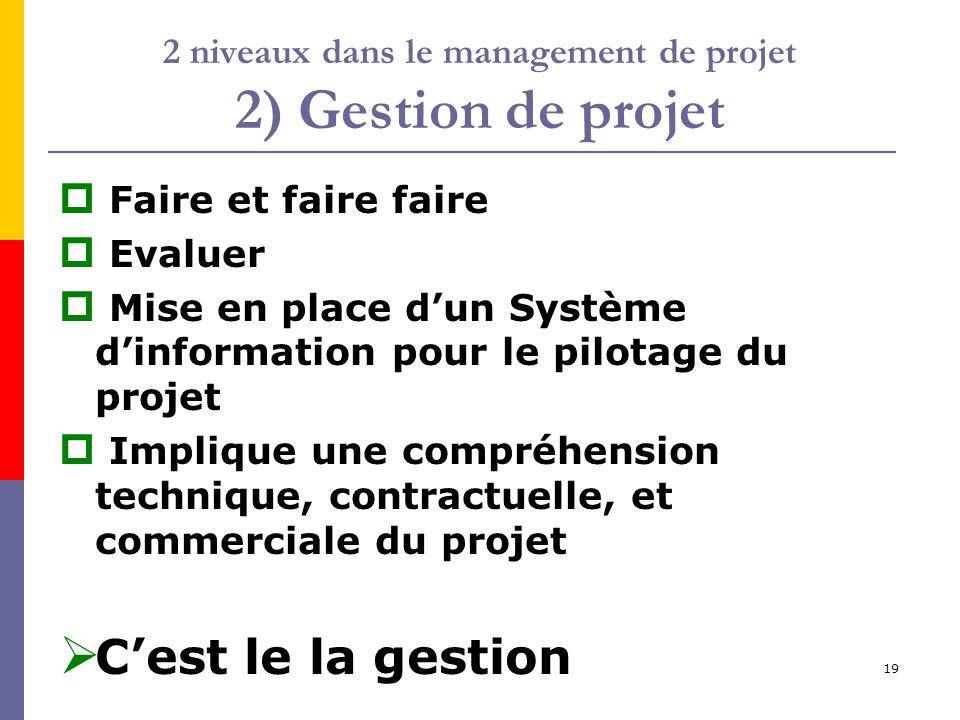2 niveaux dans le management de projet 2) Gestion de projet
