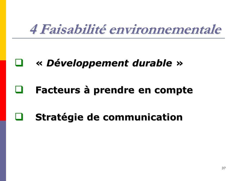 4 Faisabilité environnementale