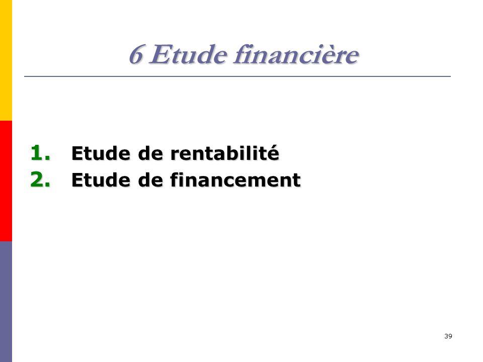 6 Etude financière Etude de rentabilité Etude de financement
