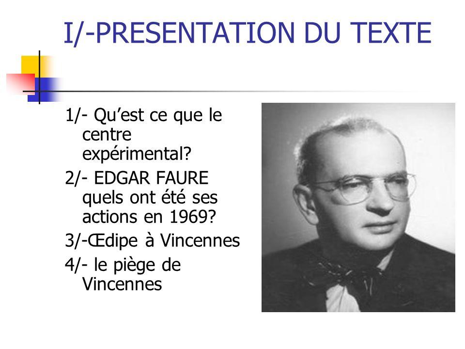 I/-PRESENTATION DU TEXTE