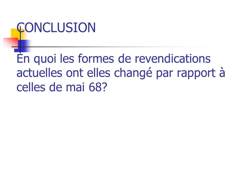 CONCLUSION En quoi les formes de revendications actuelles ont elles changé par rapport à celles de mai 68