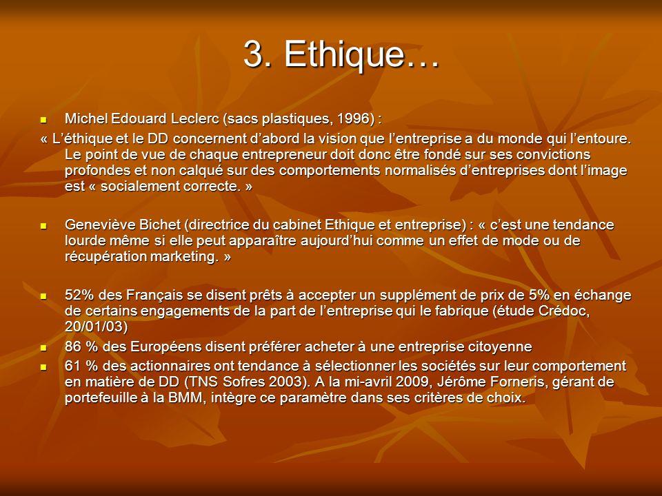 3. Ethique… Michel Edouard Leclerc (sacs plastiques, 1996) :