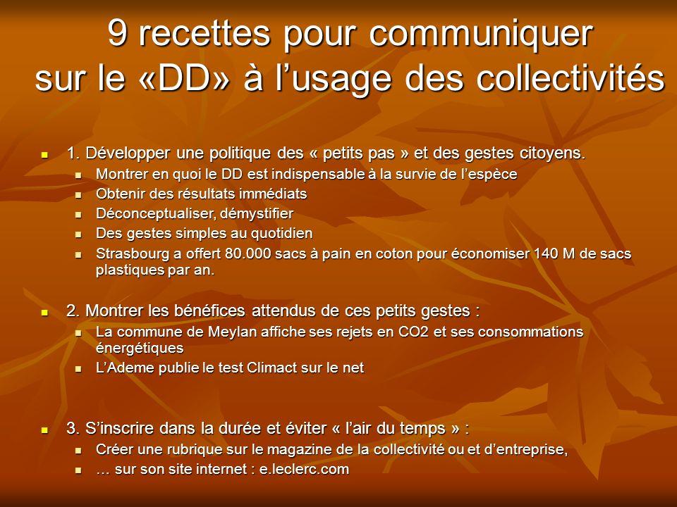 9 recettes pour communiquer sur le «DD» à l'usage des collectivités