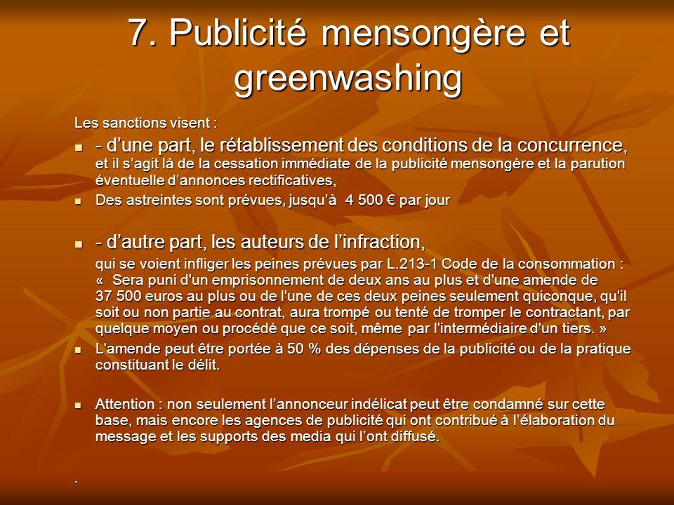 7. Publicité mensongère et greenwashing