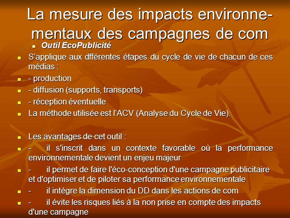 La mesure des impacts environne-mentaux des campagnes de com