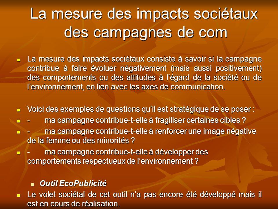 La mesure des impacts sociétaux des campagnes de com