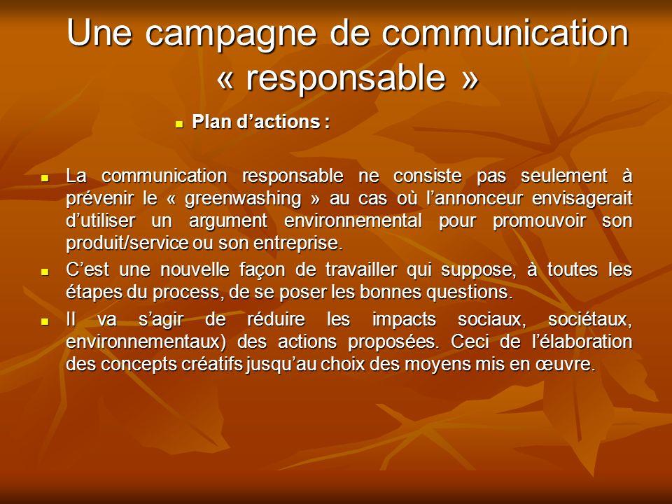 Une campagne de communication « responsable »