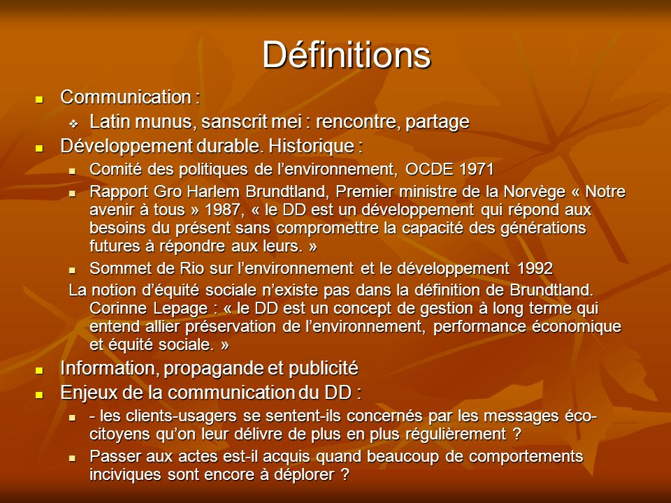Définitions Communication :