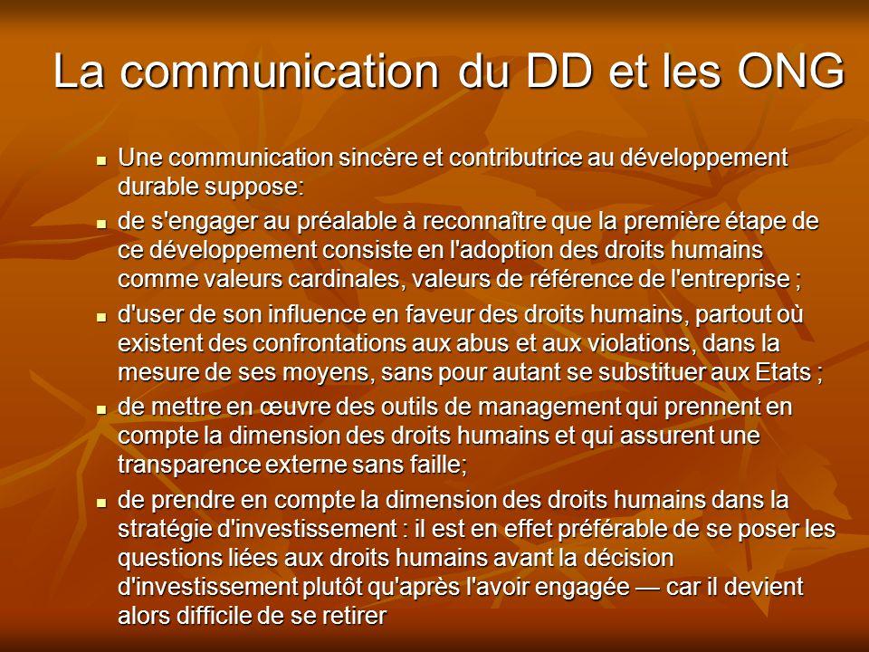 La communication du DD et les ONG