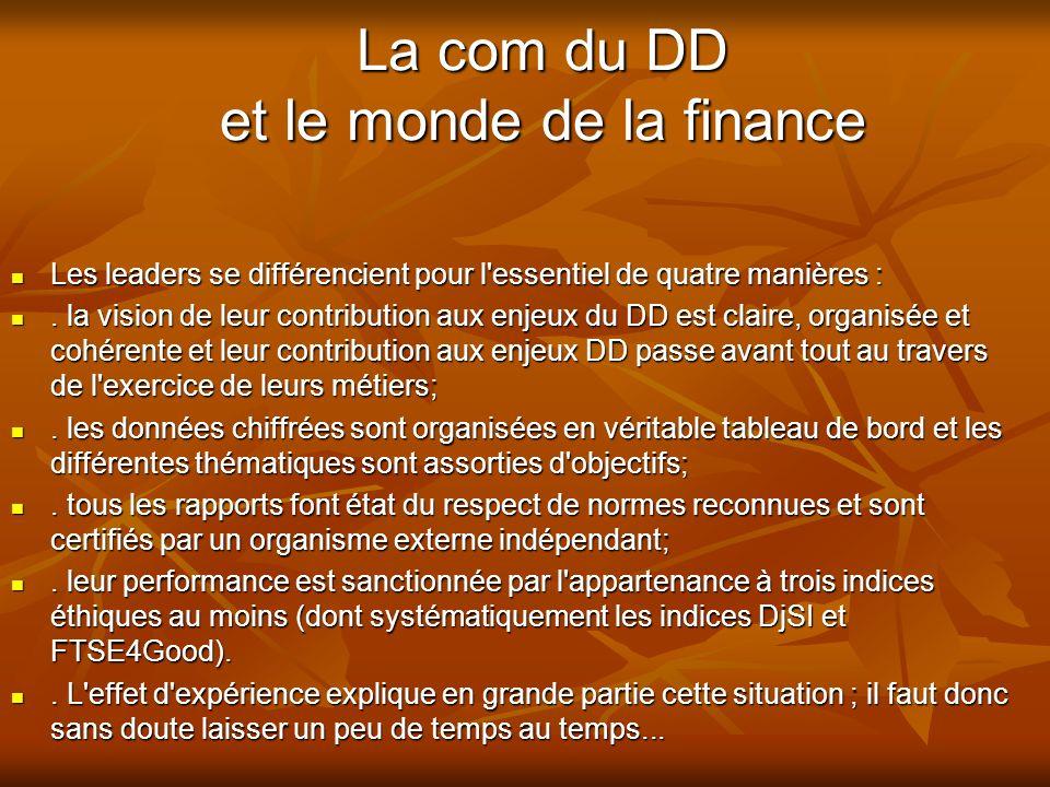 La com du DD et le monde de la finance