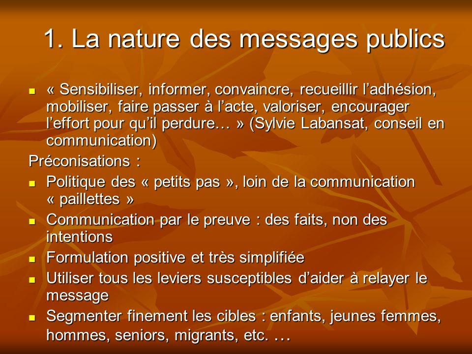 1. La nature des messages publics