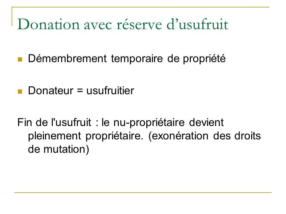 Donation avec réserve d'usufruit