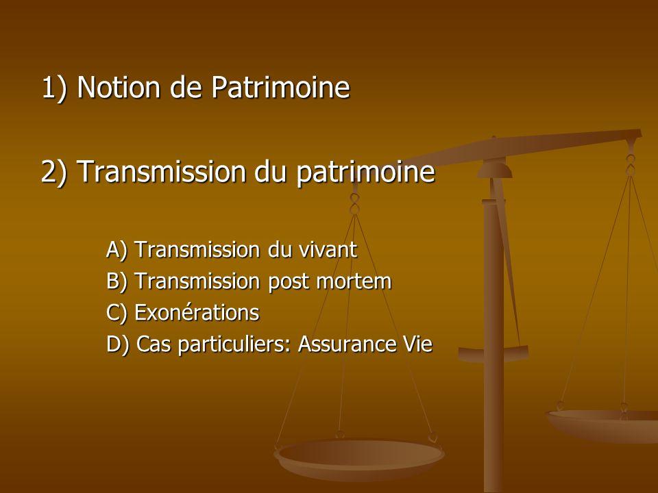 2) Transmission du patrimoine