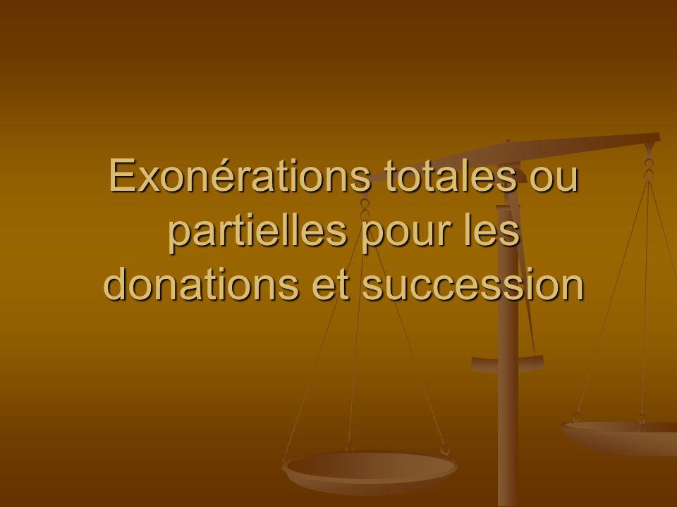 Exonérations totales ou partielles pour les donations et succession