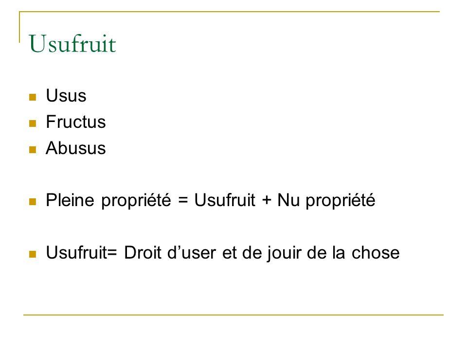 Usufruit Usus Fructus Abusus