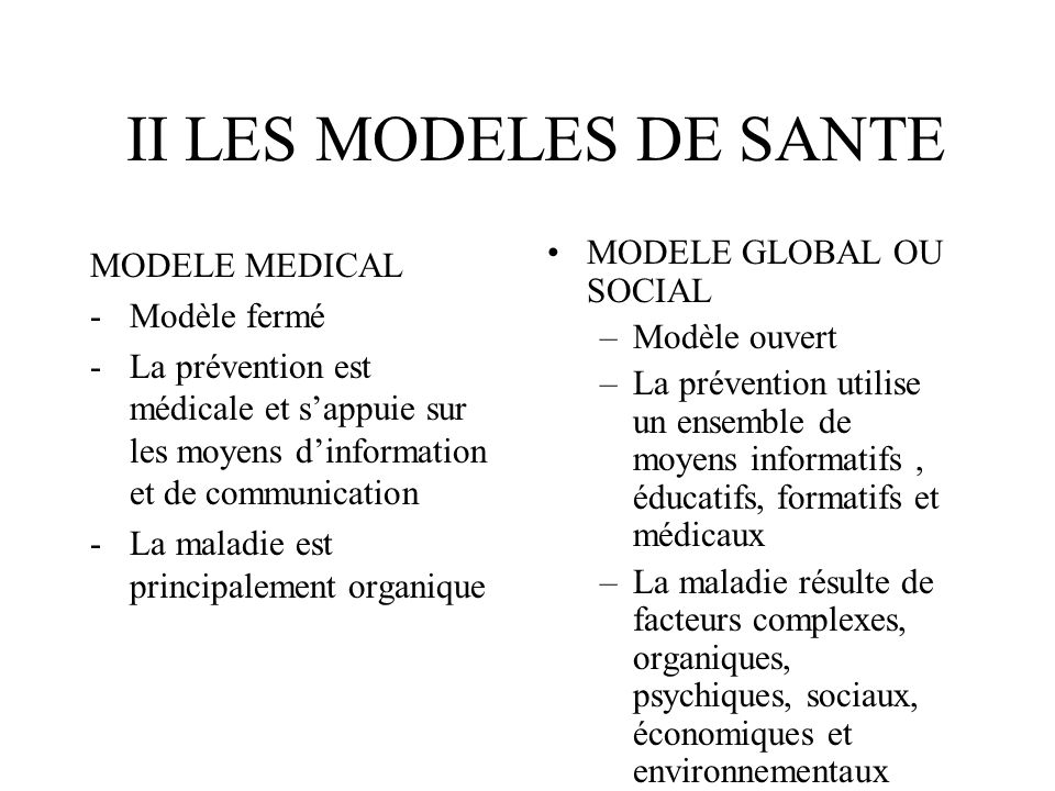 II LES MODELES DE SANTE MODELE GLOBAL OU SOCIAL MODELE MEDICAL