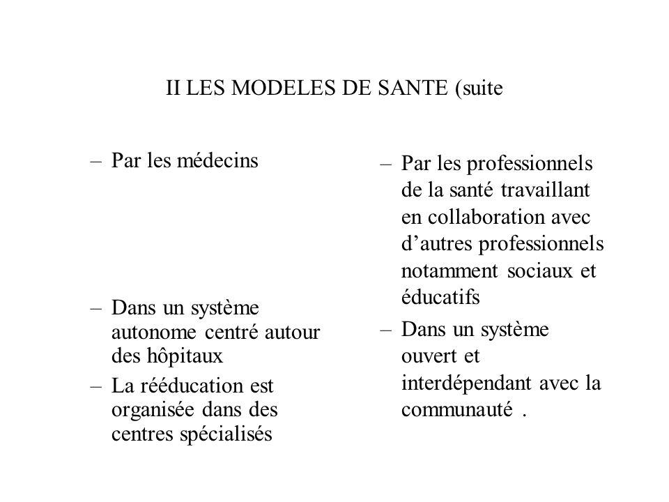 II LES MODELES DE SANTE (suite