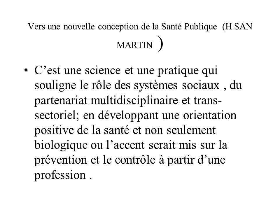 Vers une nouvelle conception de la Santé Publique (H SAN MARTIN )