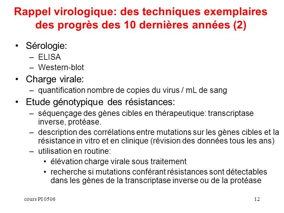 Rappel virologique: des techniques exemplaires des progrès des 10 dernières années (2)
