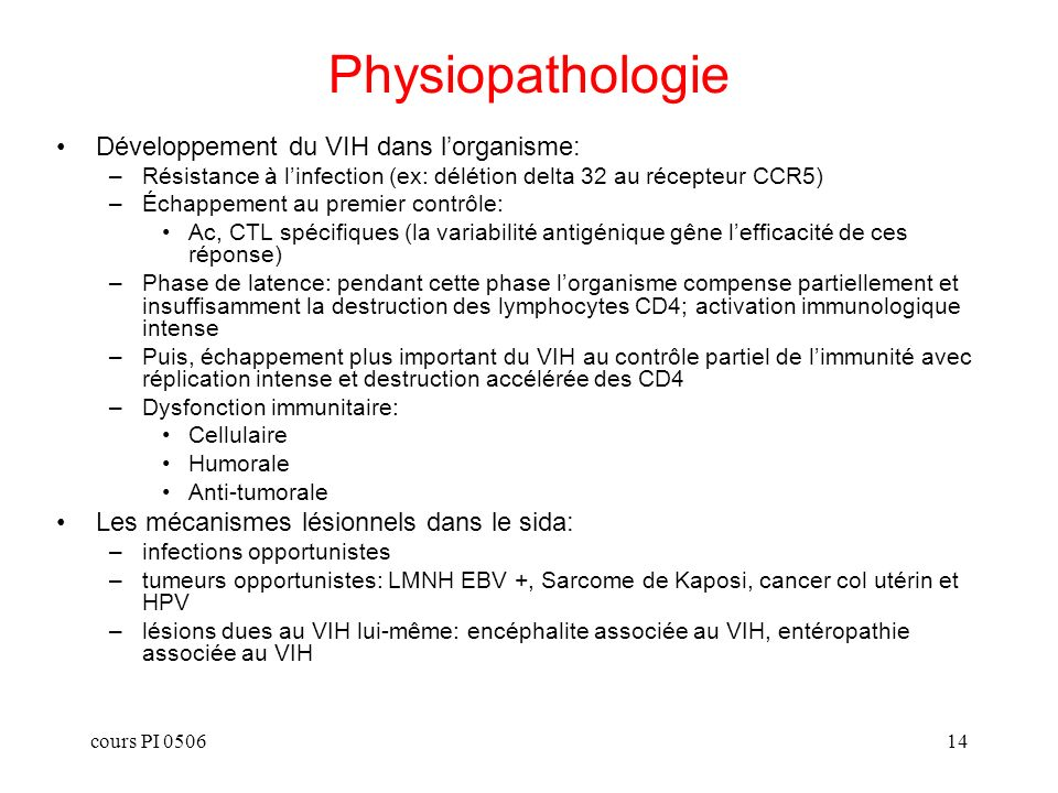 Physiopathologie Développement du VIH dans l'organisme: