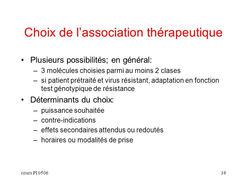 Choix de l'association thérapeutique