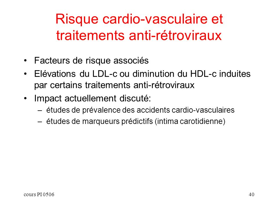Risque cardio-vasculaire et traitements anti-rétroviraux