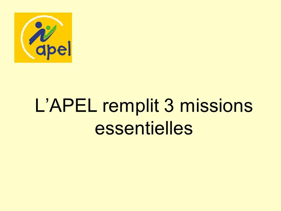 L'APEL remplit 3 missions