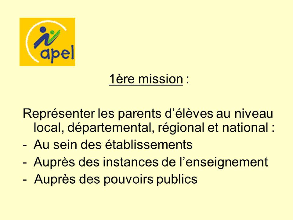 1ère mission : Représenter les parents d'élèves au niveau local, départemental, régional et national :