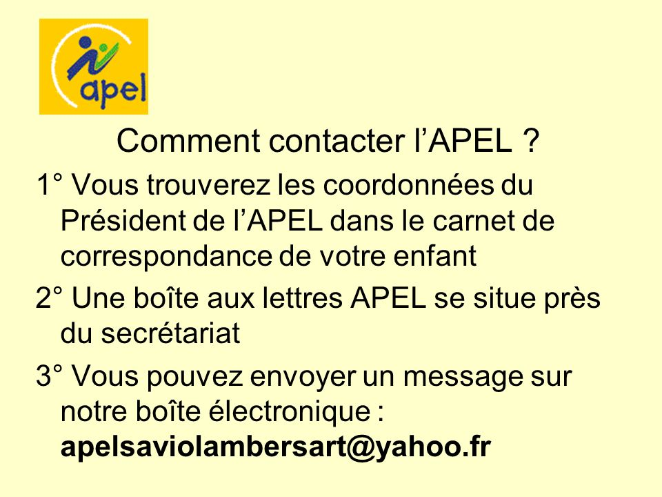 R union parents de 6 me lundi 1er octobre ppt t l charger - Comment contacter l afub ...