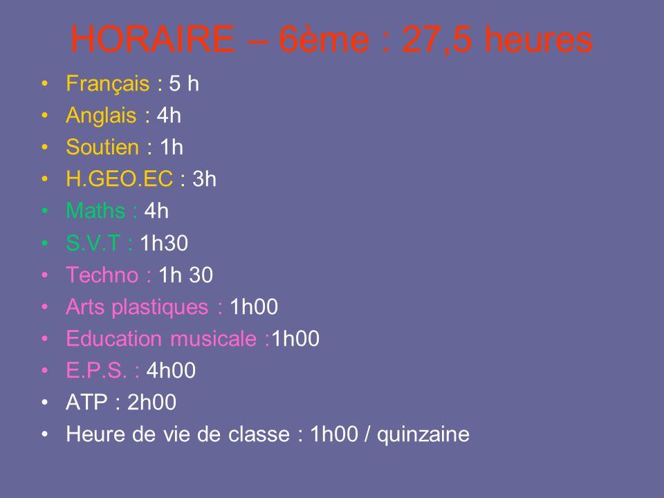 HORAIRE – 6ème : 27,5 heures Français : 5 h Anglais : 4h Soutien : 1h