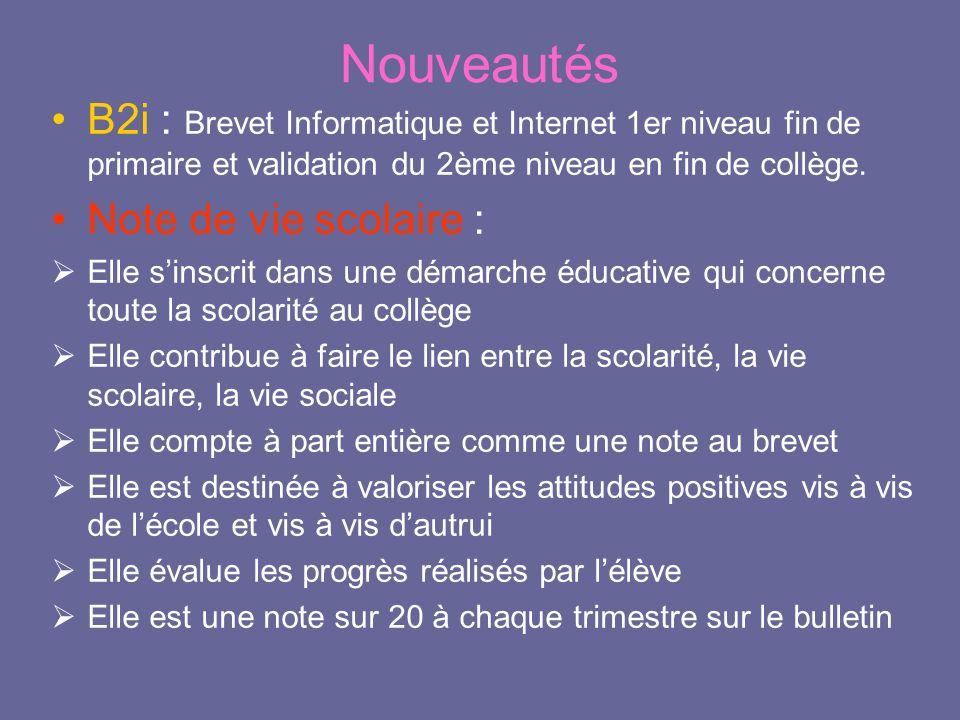 Nouveautés B2i : Brevet Informatique et Internet 1er niveau fin de primaire et validation du 2ème niveau en fin de collège.