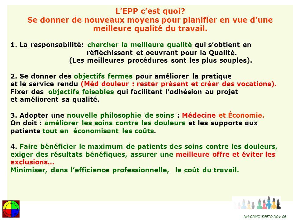 L'EPP c'est quoi Se donner de nouveaux moyens pour planifier en vue d'une meilleure qualité du travail.