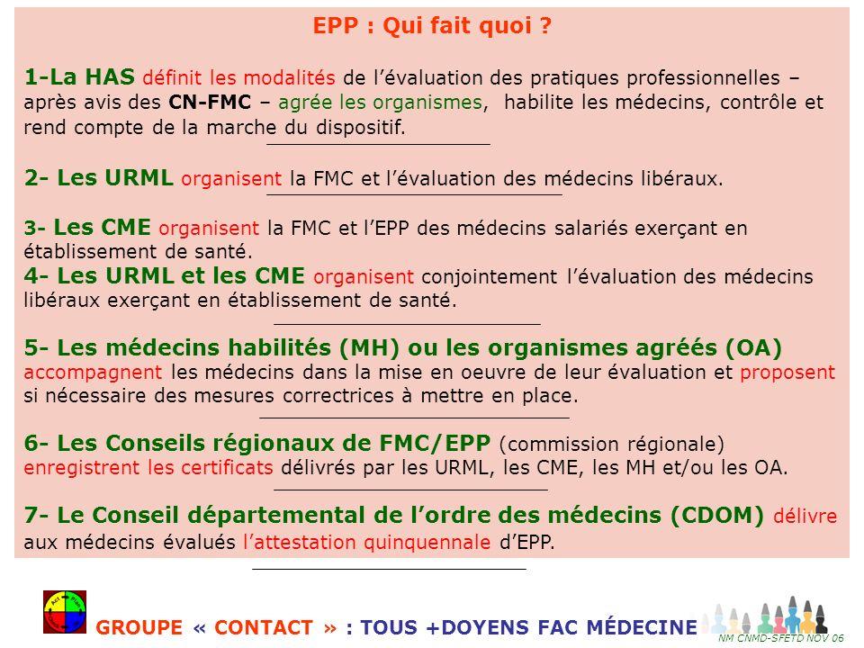 2- Les URML organisent la FMC et l'évaluation des médecins libéraux.