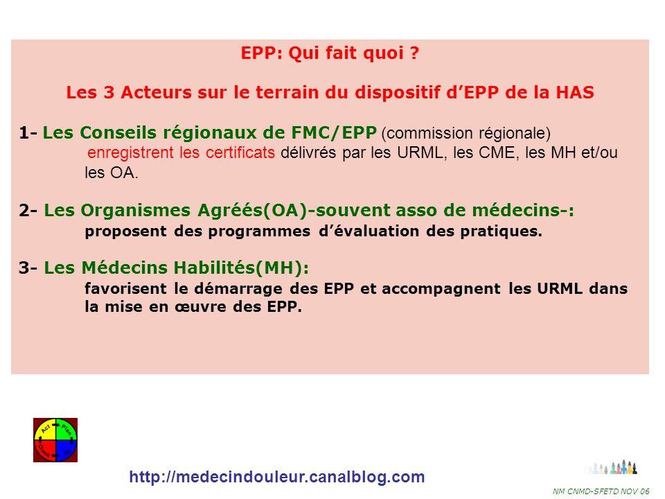 Les 3 Acteurs sur le terrain du dispositif d'EPP de la HAS
