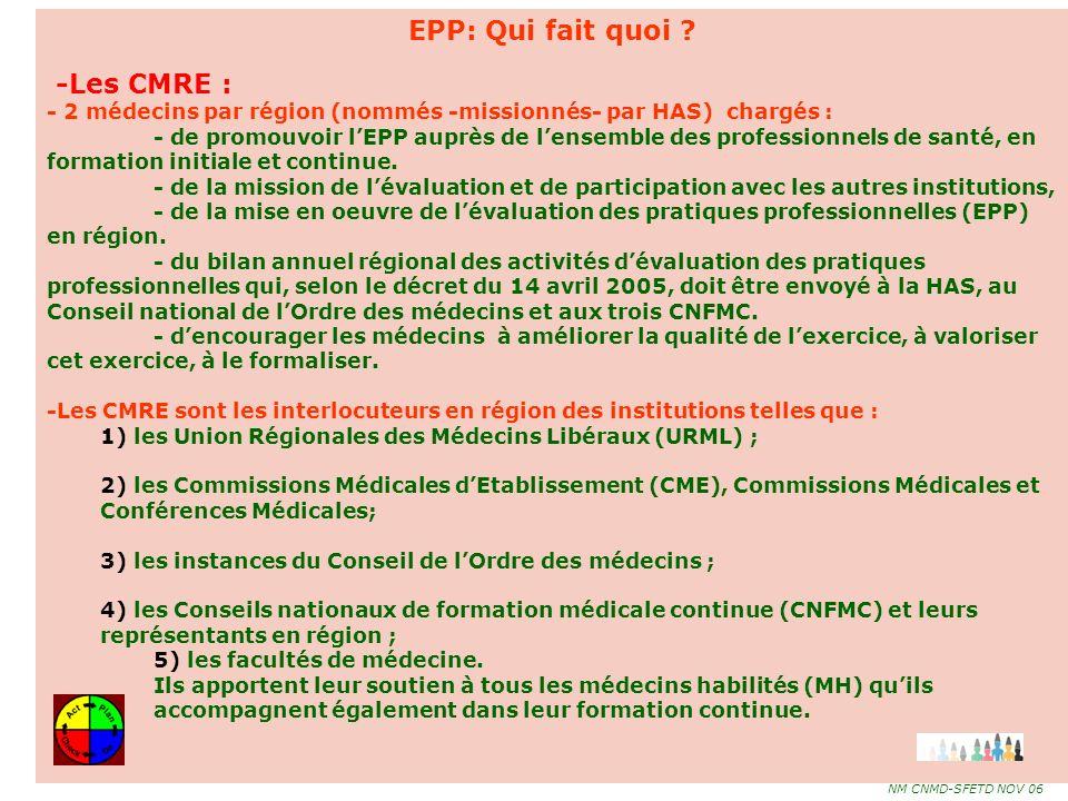 EPP: Qui fait quoi -Les CMRE :