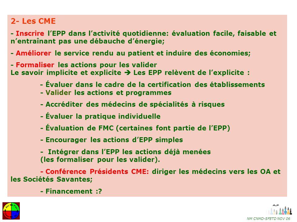 2- Les CME - Inscrire l'EPP dans l'activité quotidienne: évaluation facile, faisable et n'entraînant pas une débauche d'énergie;