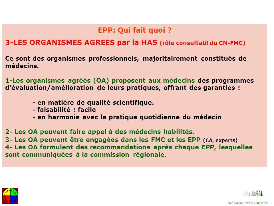 3-LES ORGANISMES AGREES par la HAS (rôle consultatif du CN-FMC)