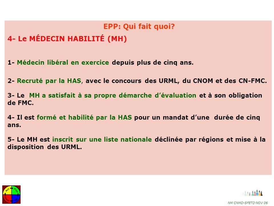 4- Le MÉDECIN HABILITÉ (MH)