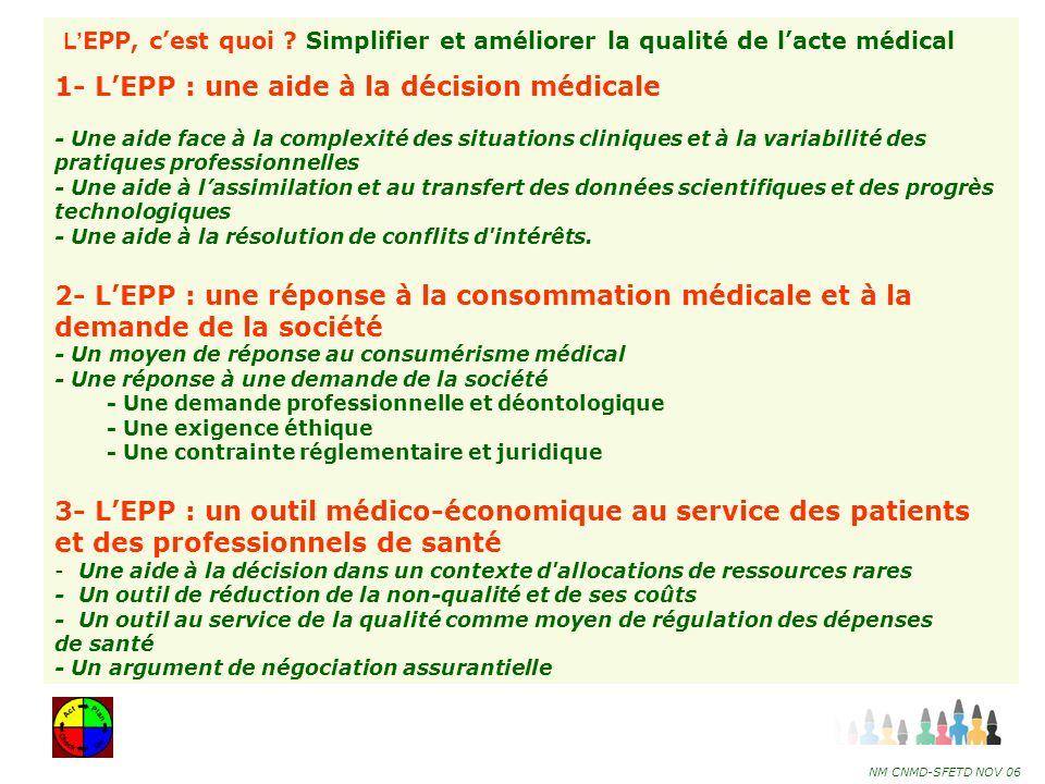 1- L'EPP : une aide à la décision médicale