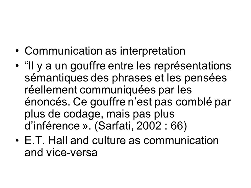 Communication as interpretation
